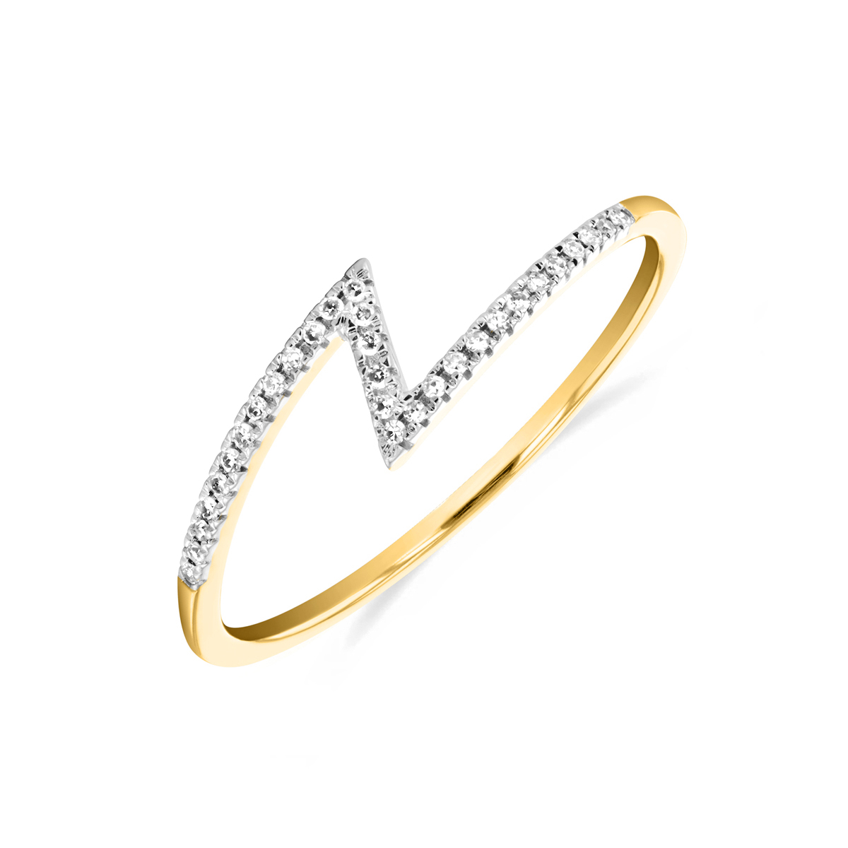 Soleil Collection Diamond Zigzag Ring   9K Yellow Gold
