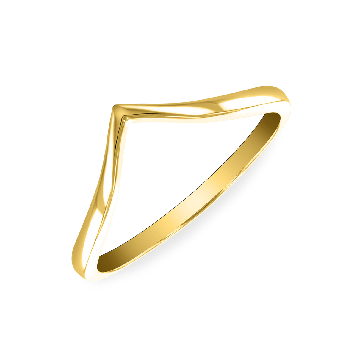 Soleil Collection Plain Wishbone Ring   9K Yellow Gold
