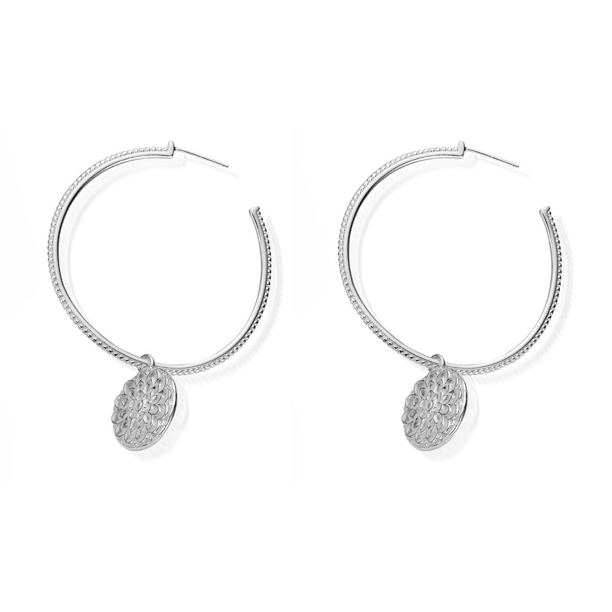 ChloBo Moon Flower Hoop Earrings GEH778