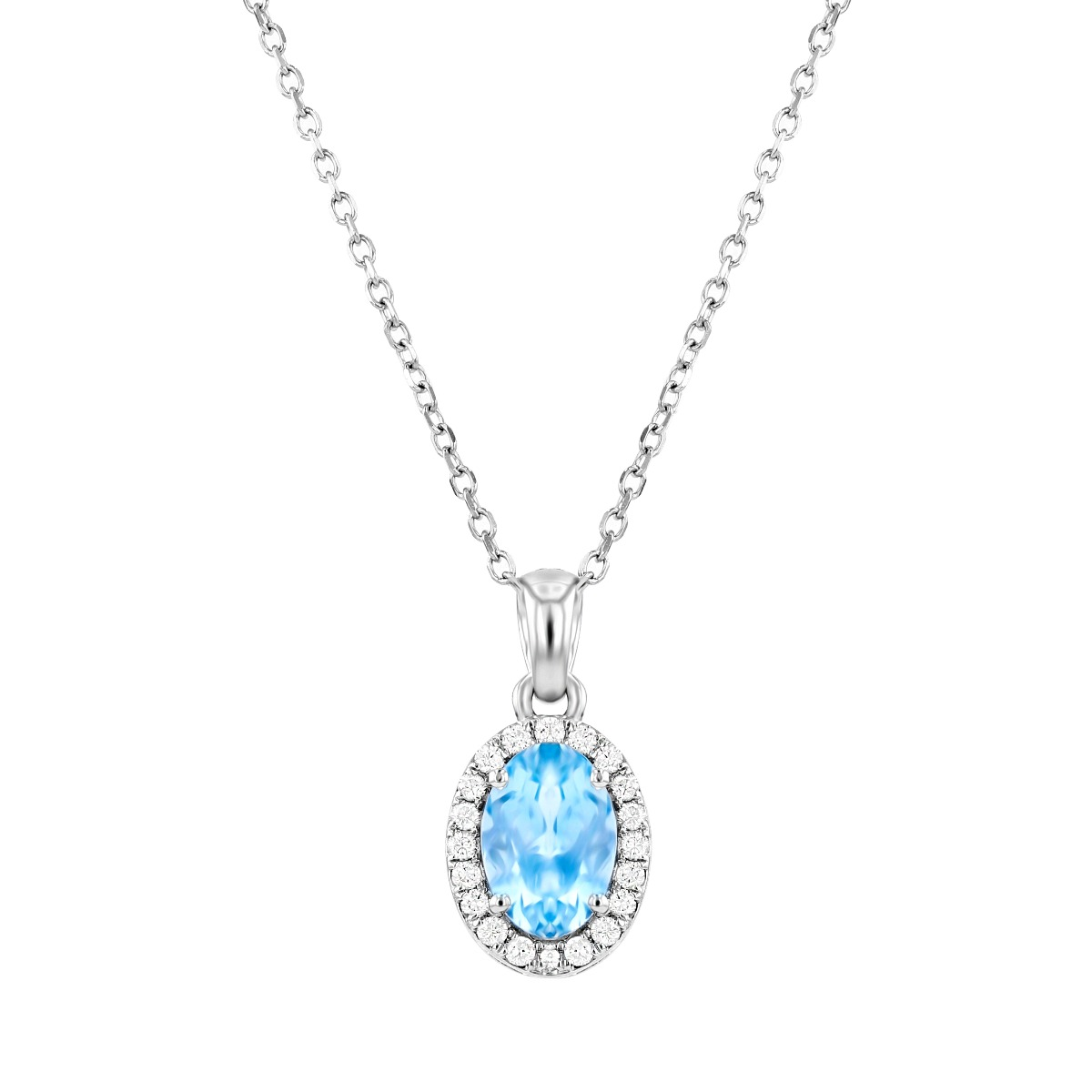 Rosa Mer Collection 0.68ct Oval Aquamarine and Diamond Halo Necklace