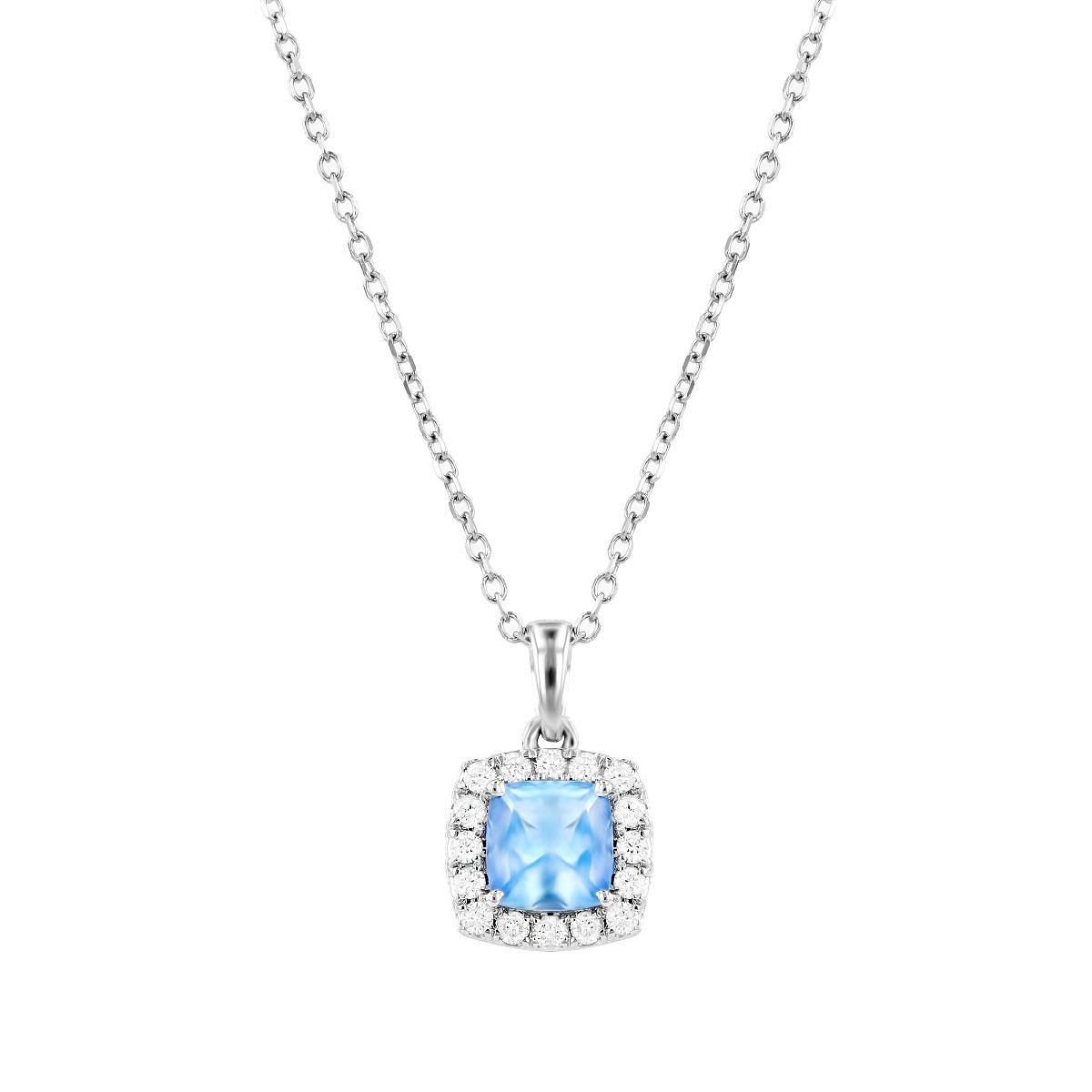 Rosa Mer Collection 0.45ct Cushion Aquamarine and Diamond Halo Necklace
