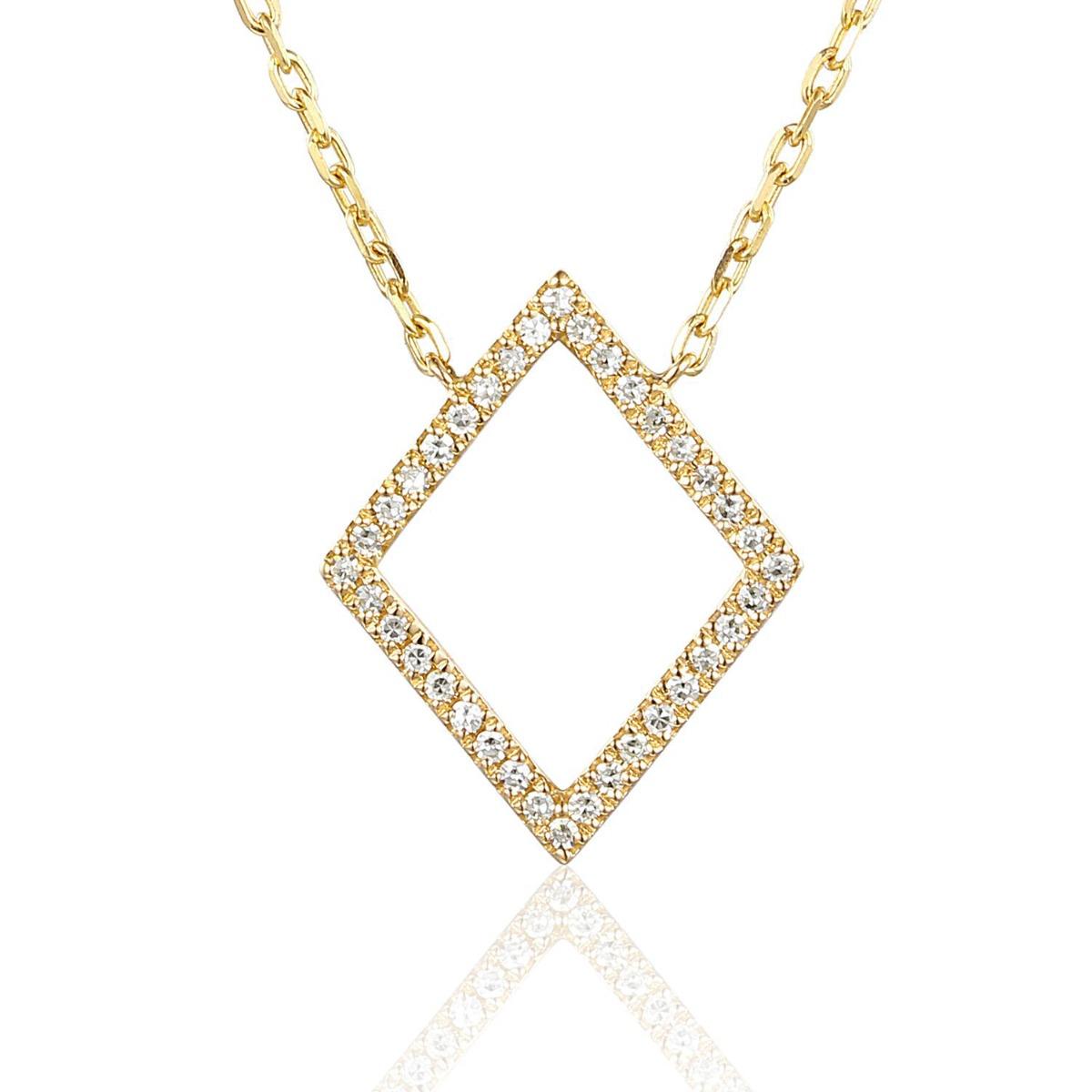 Geometric Collection Diamond & Yellow Gold Diamond Shape Necklace