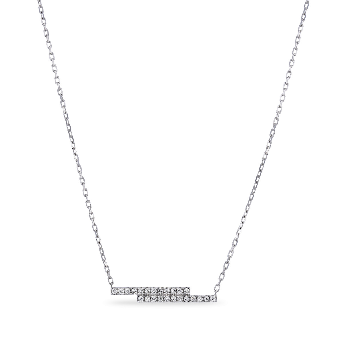 Geometric Collection Diamond & White Gold Double Bar Necklace