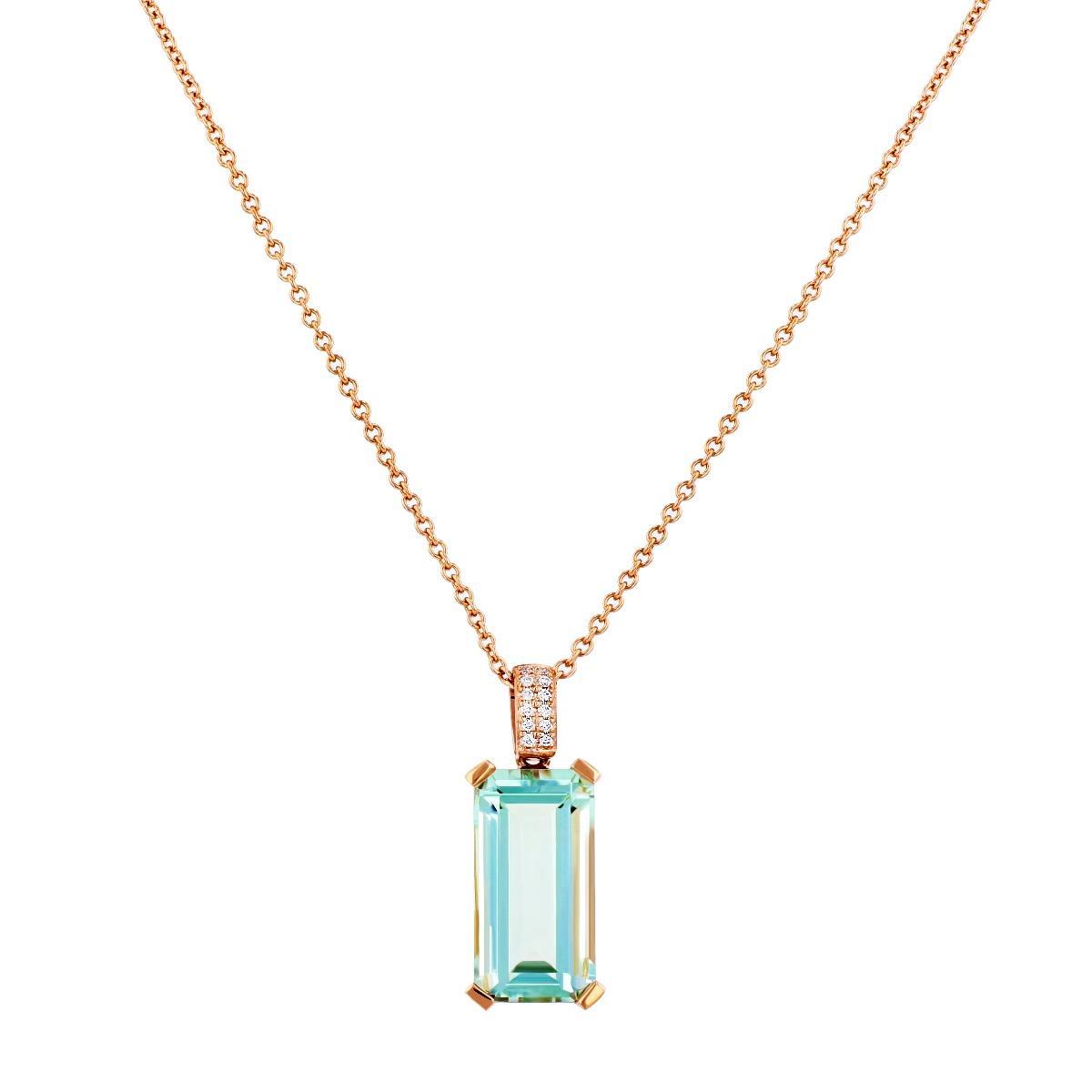 Rosa Mer Collection Octagon 4.55ct Green Amethyst & Diamond Pendant | 9K Rose Gold