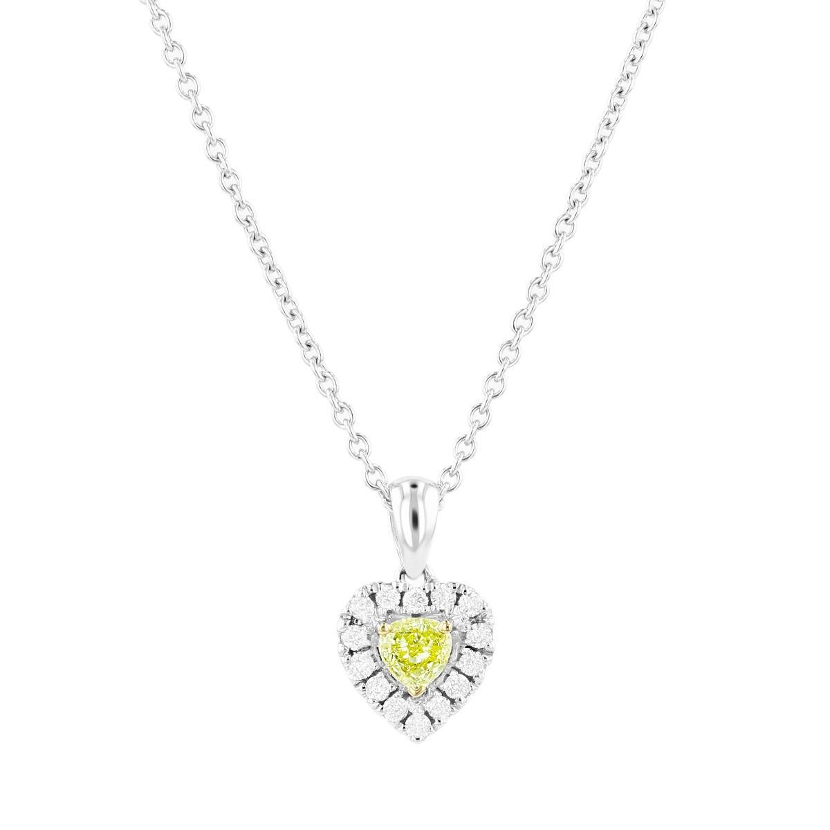 Yellow Diamond Halo Heart Pendant | 18K White Gold