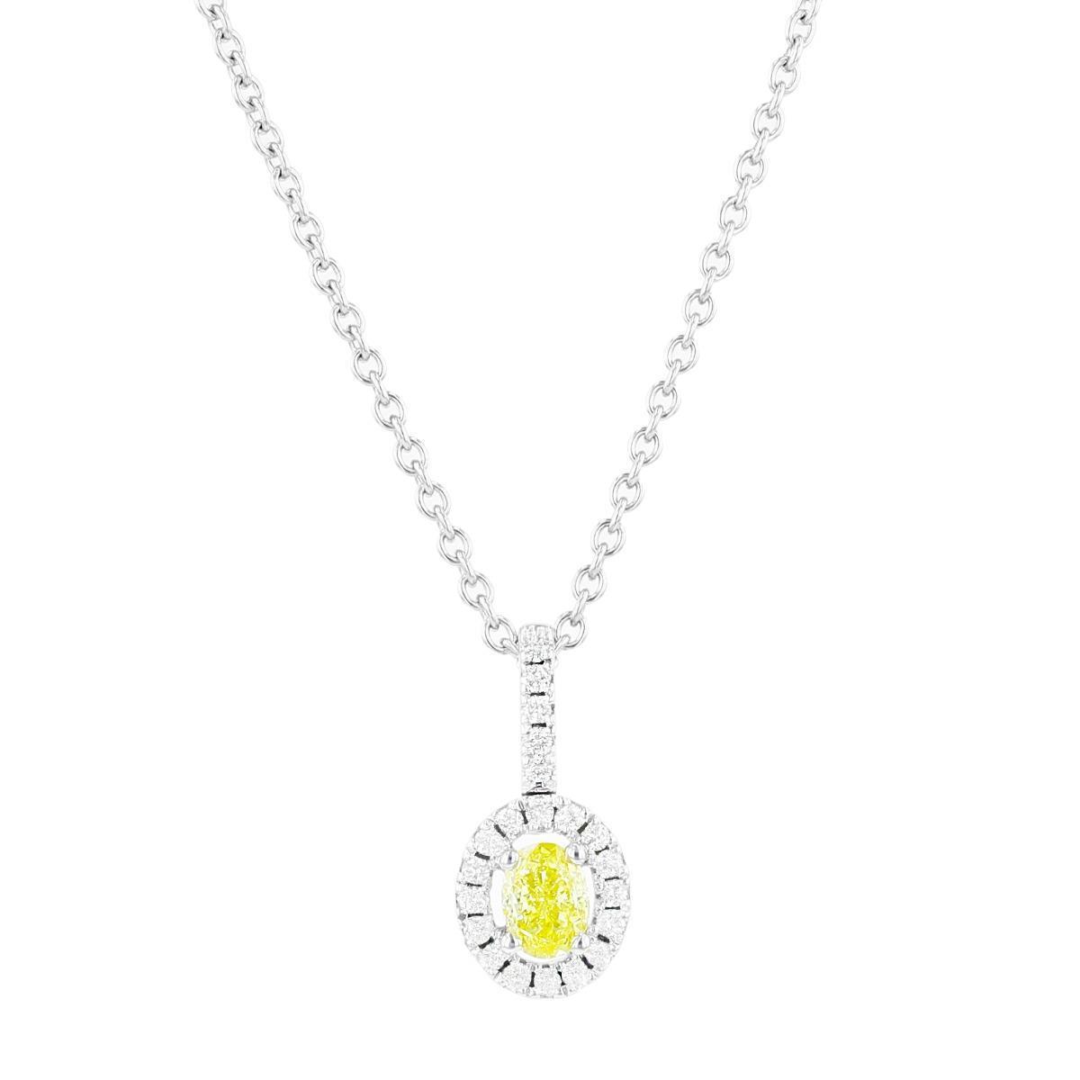 Yellow Diamond Oval Halo Pendant | 18K White Gold