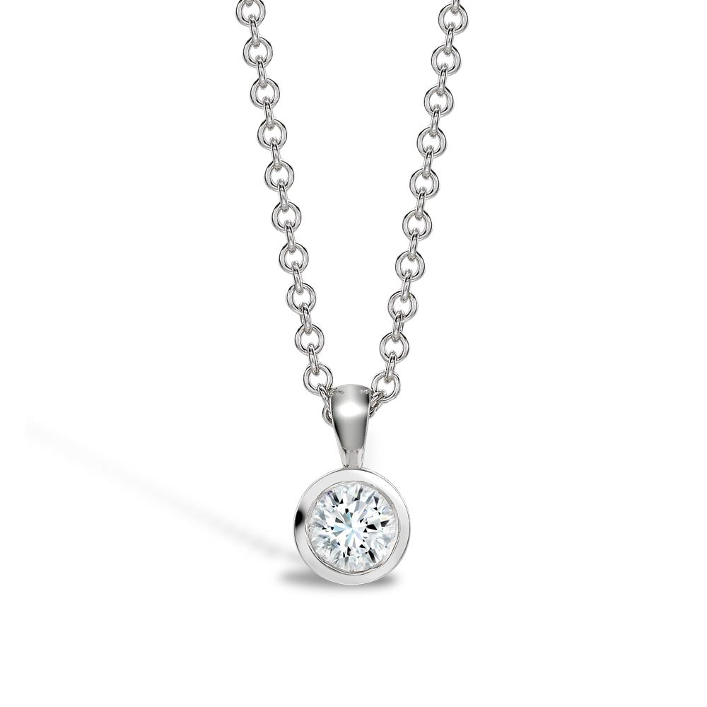 0.20ct Diamond Rubover Pendant | 9K White Gold