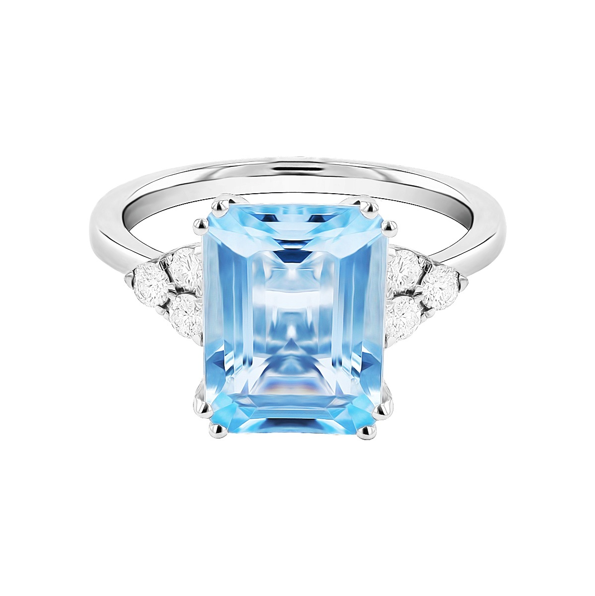 Rosa Mer Collection 3.39ct Aquamarine & Diamond Ring