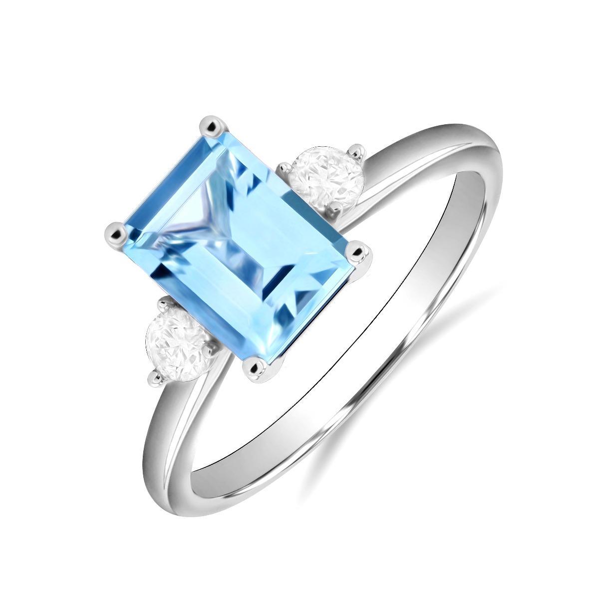 Rosa Mer Collection 1.44ct Aquamarine & Diamond Ring