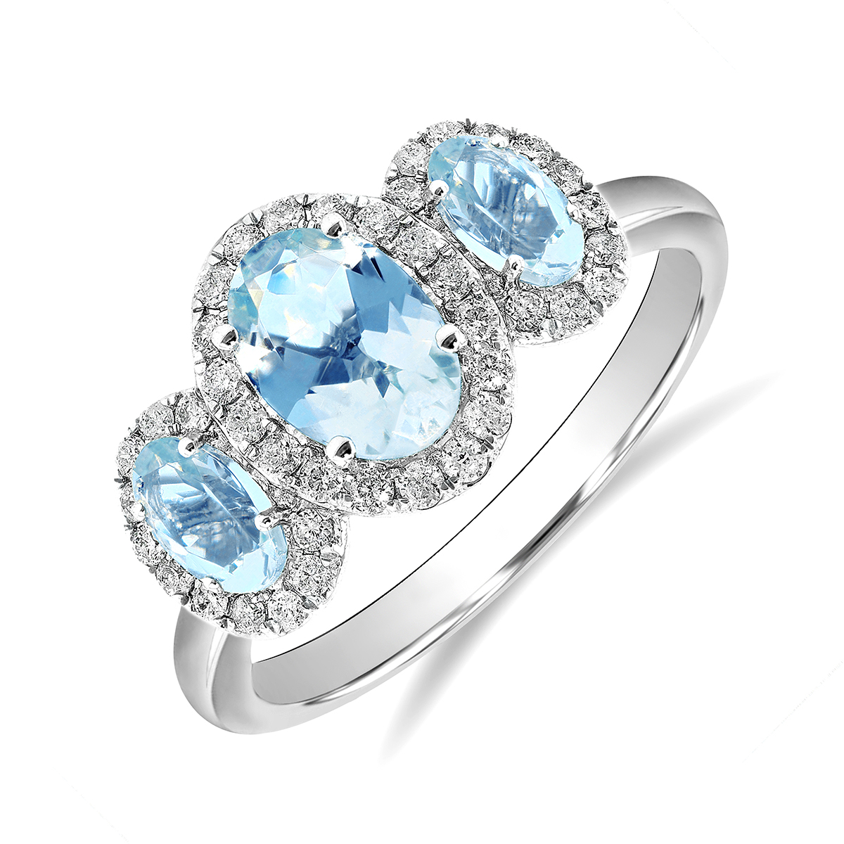 Rosa Mer Collection 1.13ct Aquamarine & Diamond Halo Ring