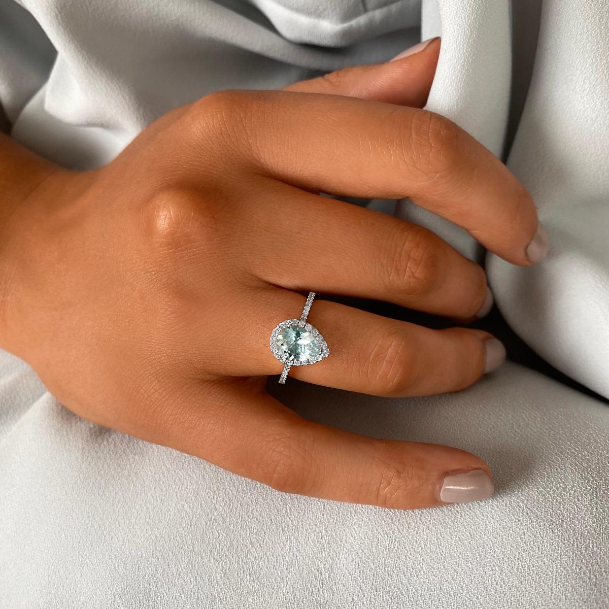 Rosa Mer Collection 1.47ct Pear Cut Aquamarine & Diamond Halo Ring