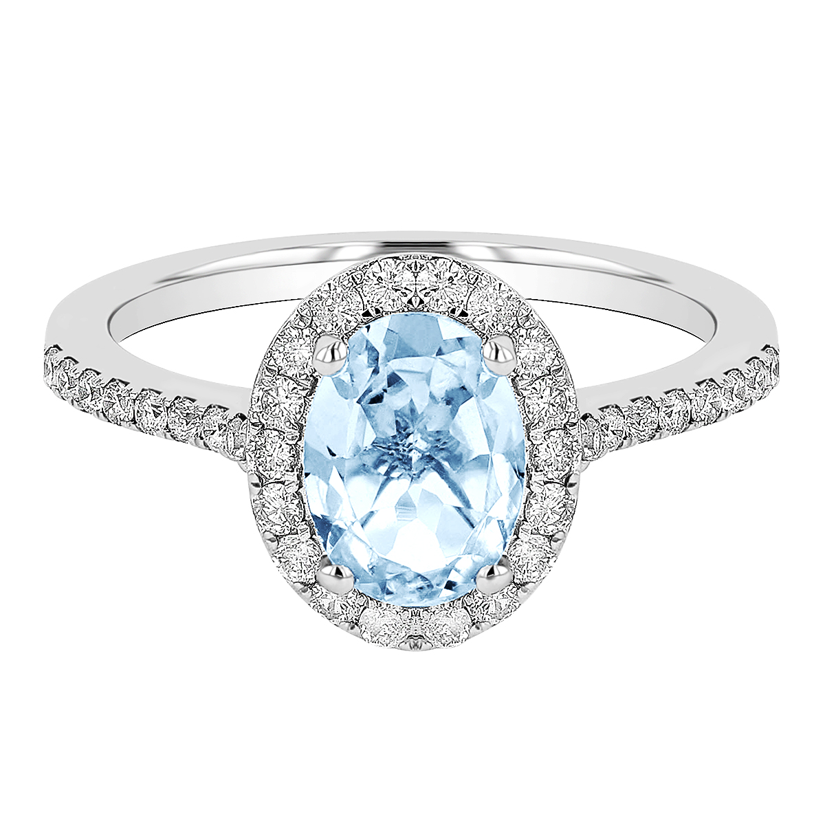 Rosa Mer Collection 0.87ct Oval Aquamarine & Diamond Halo Ring