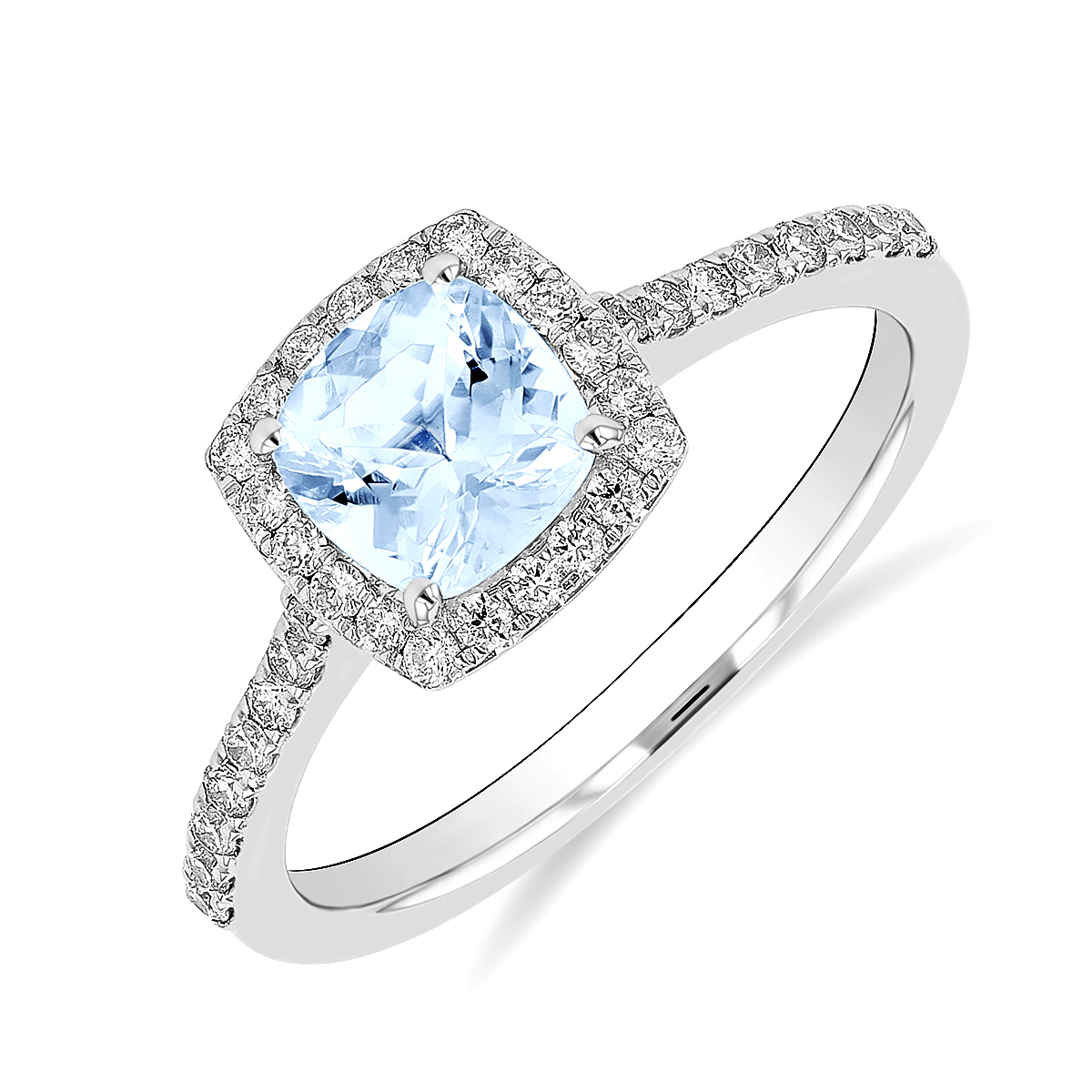 Rosa Mer Collection 0.92ct Cushion Cut Aquamarine & Diamond Halo Ring