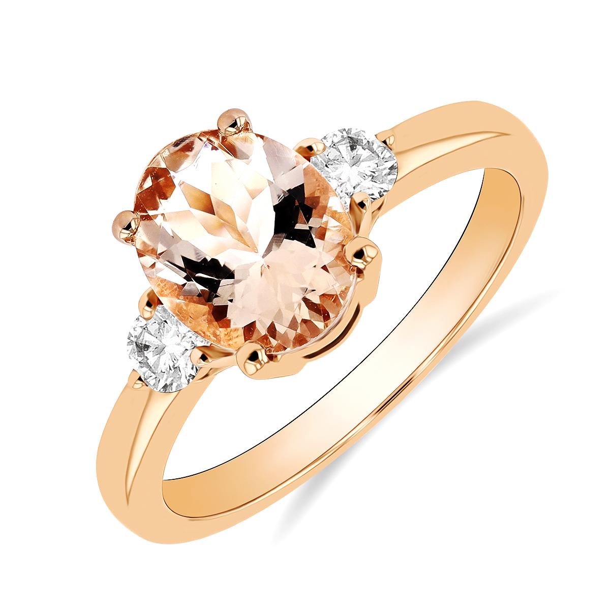 Rosa Mer Collection 1.71ct Morganite & Diamond Ring | 18K Rose Gold