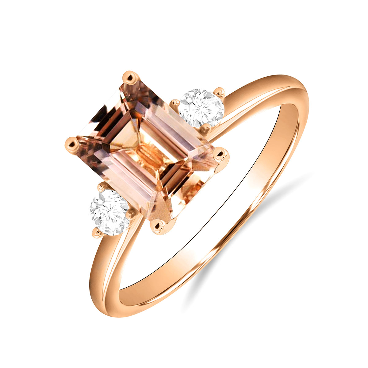 Rosa Mer Collection 1.28ct Morganite & Diamond Trilogy Ring | 18K Rose Gold