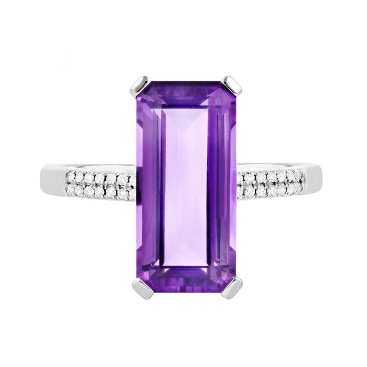 Rosa Mer Collection Octagon Purple Amethyst & Diamond Ring