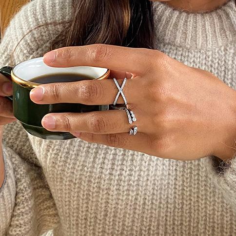 0.30ct Diamond & White Gold Stacking Ring | 9K White Gold