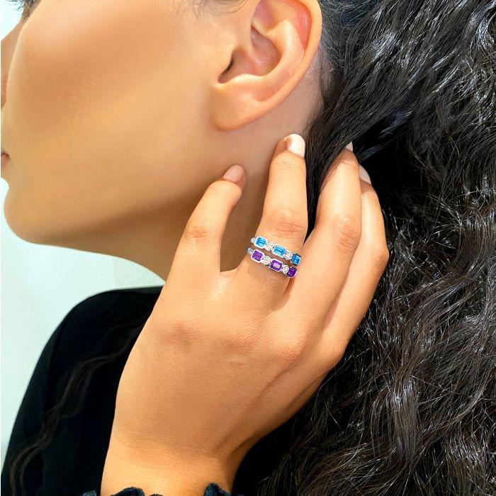 Rosa Mer Collection Octagon 0.76ct Blue Topaz & Diamond Ring
