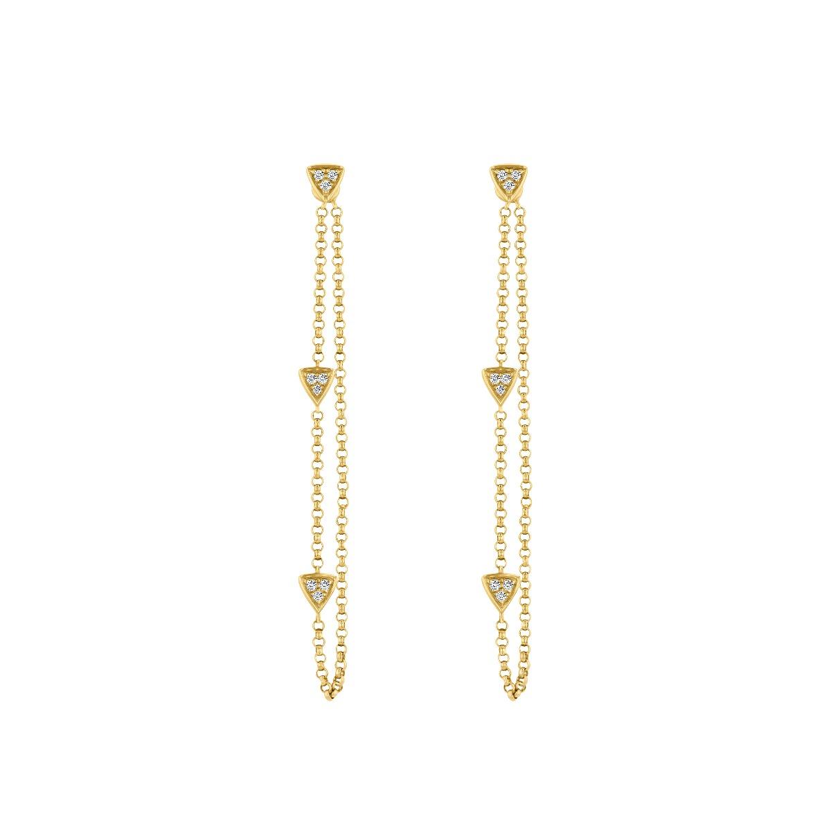 Diamond & Yellow Gold Triangle Drop Earrings | 9K Yellow Gold