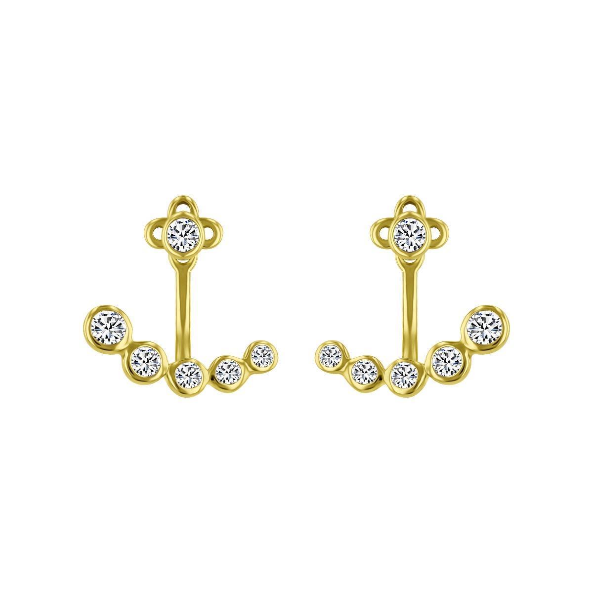 Diamond Stud Earrings with Diamond Jacket | 9K Yellow Gold