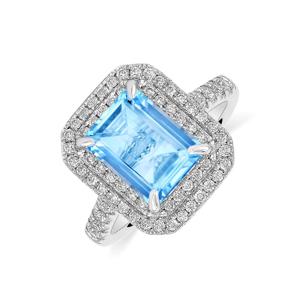 Riviera Collection 2.40ct Aquamarine & Diamond Double Halo Ring | 18K White Gold