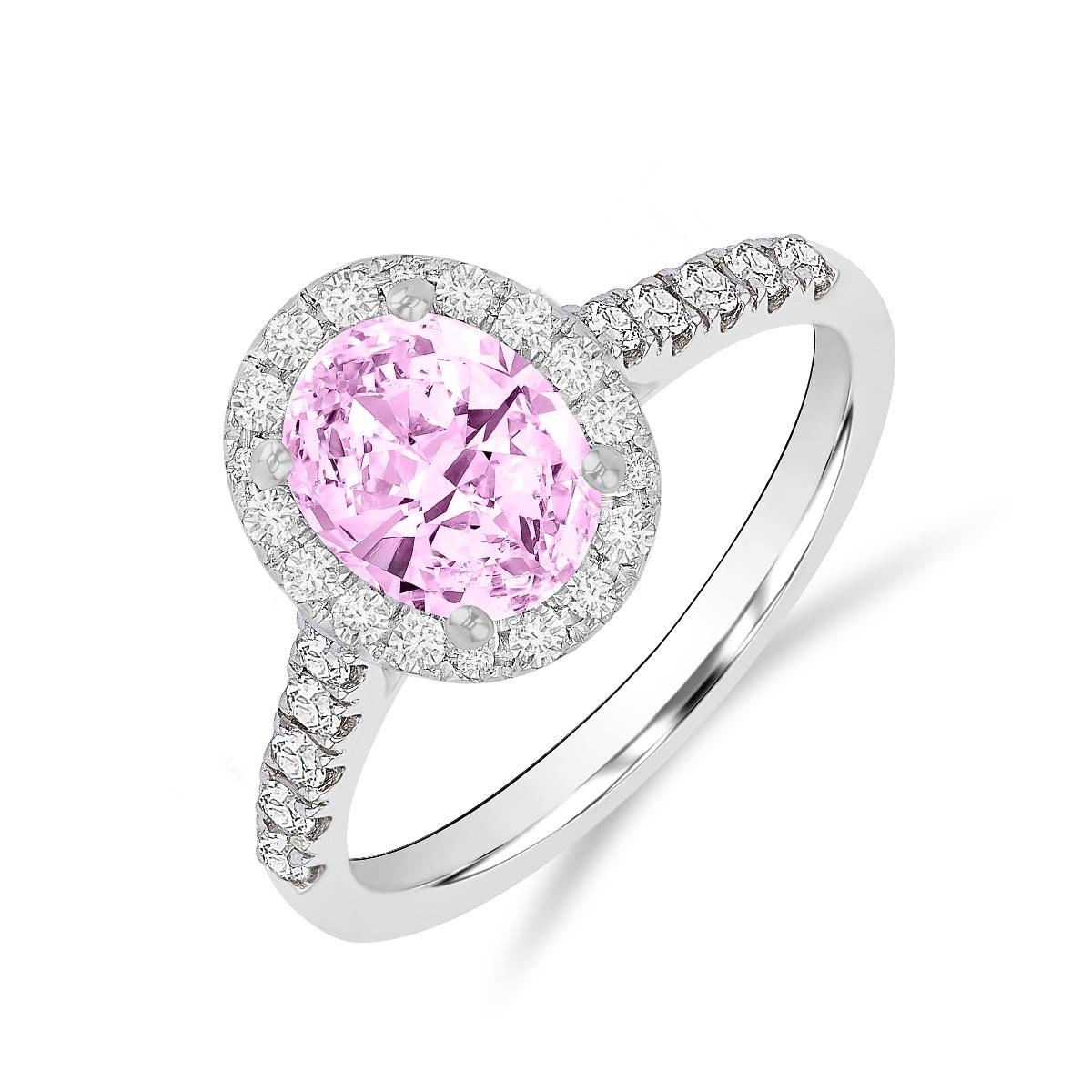 Riviera collection 1.25ct Oval Morganite & Diamond Ring | 18K White Gold