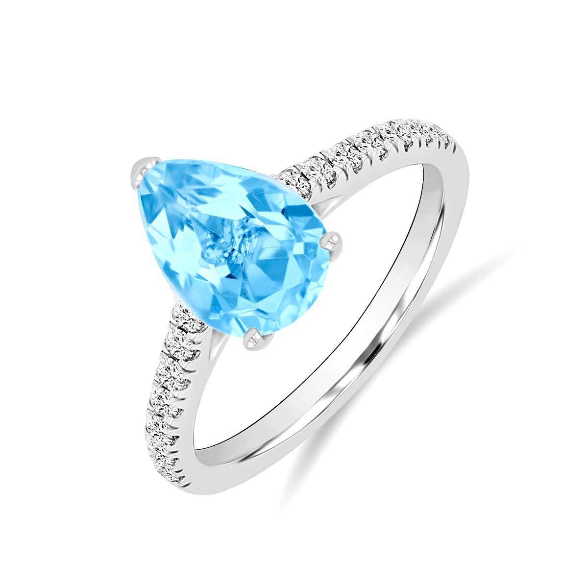 Riviera Collection 1.61ct Aquamarine & Diamond Ring | 9K White Gold