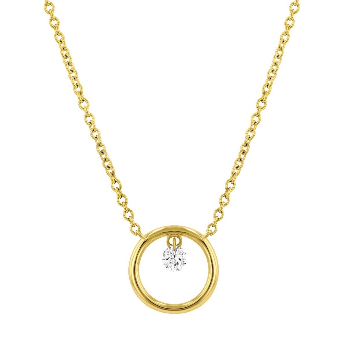 Diamond Drop Circle Pendant | 18K Yellow Gold