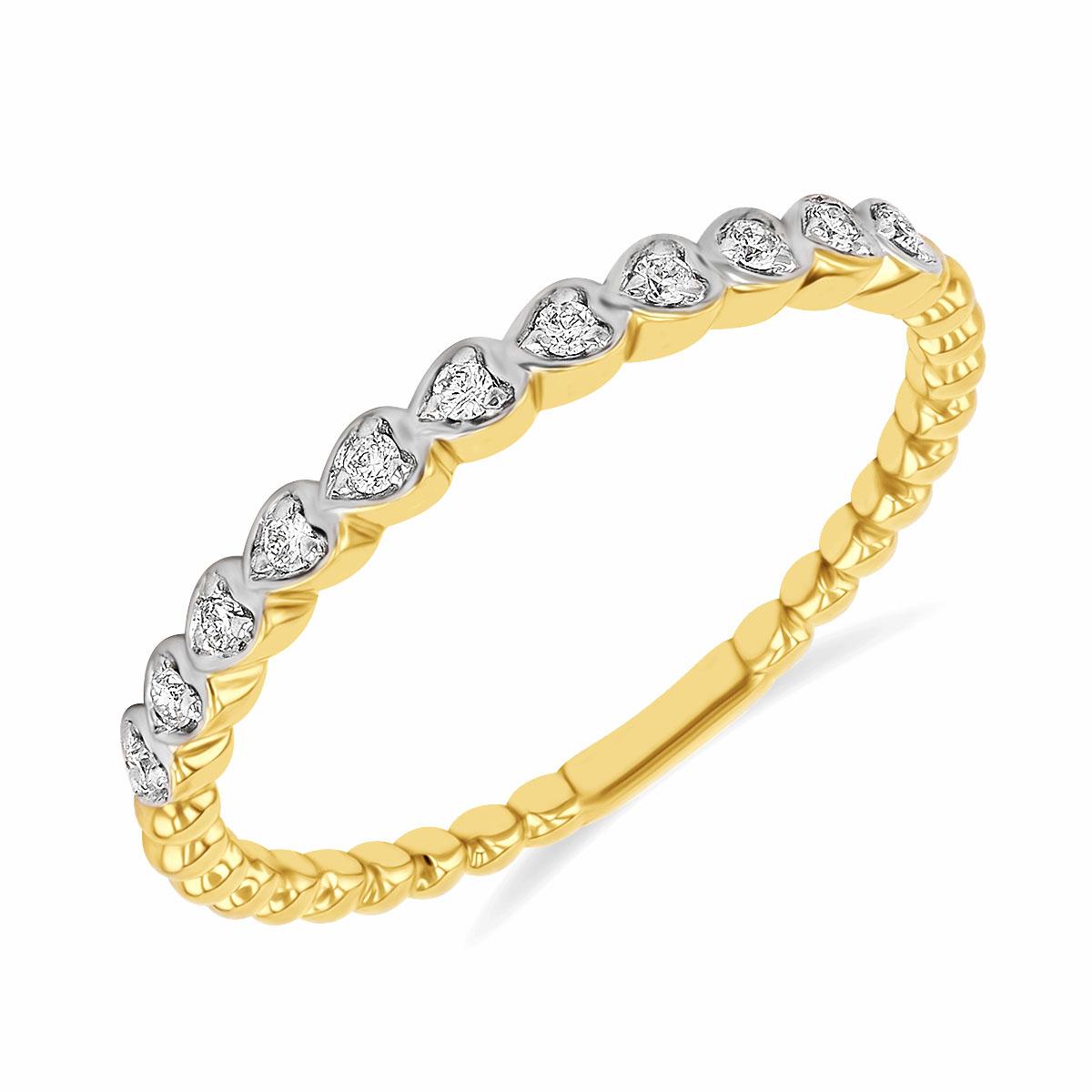 Diamond & Yellow Gold Stacking Ring | 9K Yellow Gold
