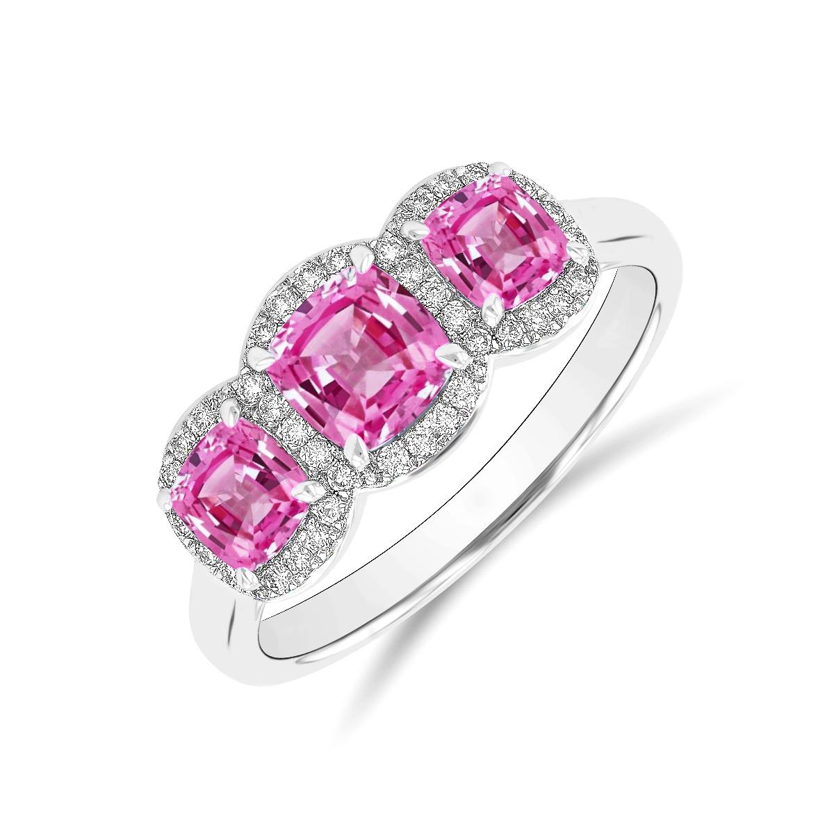 Riviera Collection 1.51ct Pink Sapphire & Diamond Triple Halo Ring   Platinum