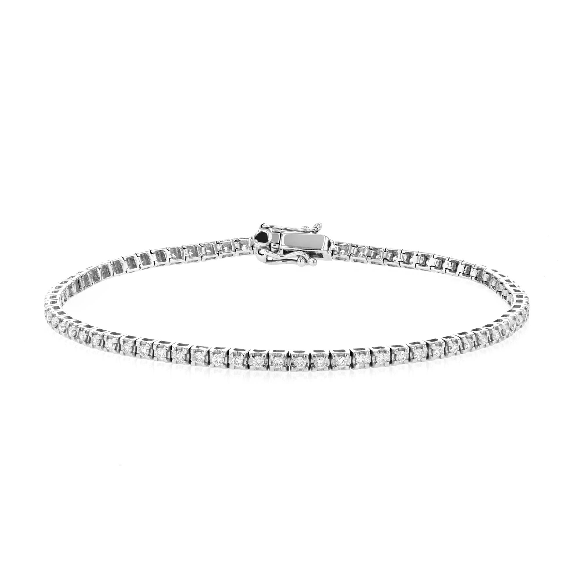 Radiance Collection 1.00ct Round Brilliant Diamond Tennis Bracelet | 9K White Gold