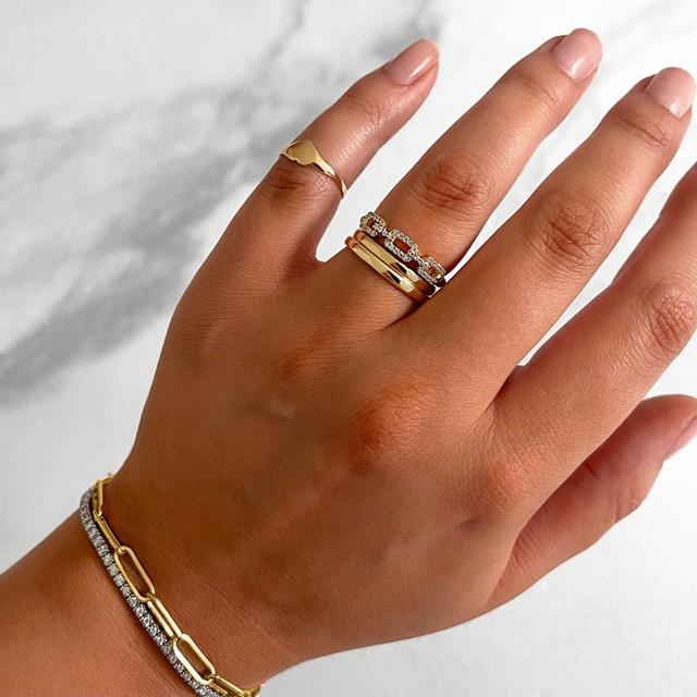 Soleil Collection Chain Link Ring | 9K Yellow Gold