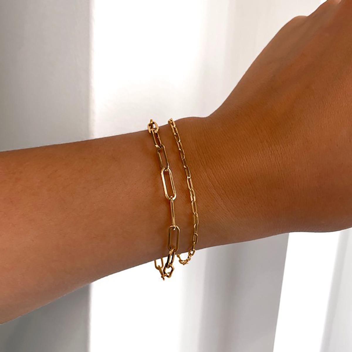 Soleil Collection Petite Paperclip Bracelet | 9K Yellow Gold