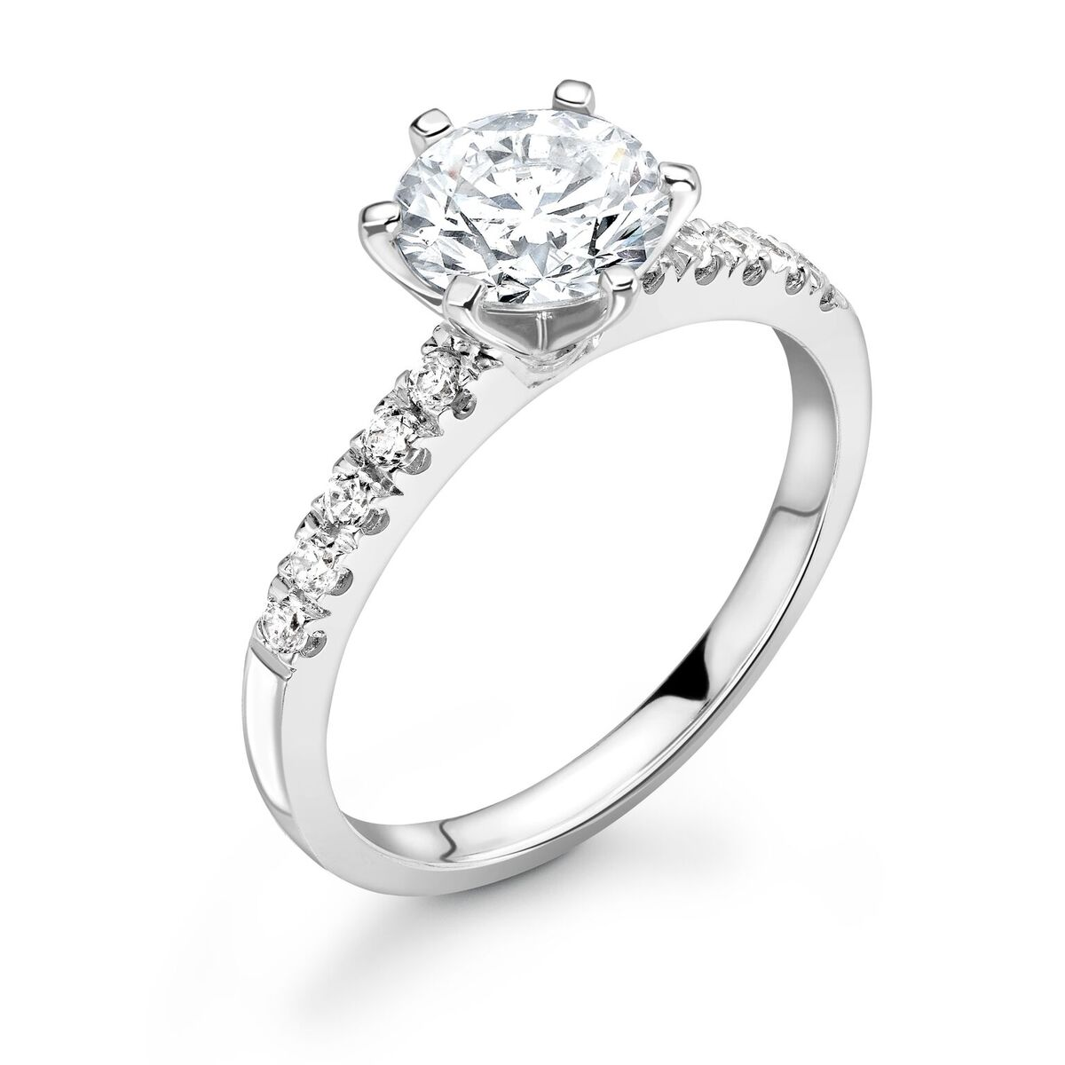 0.40ct Bethany Shoulder Set | Diamond Shoulder Solitaire Engagement Ring | Platinum
