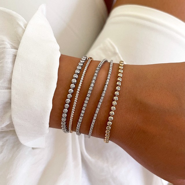 Radiance Collection 1.00ct Diamond Rubover Tennis Bracelet | 9K White Gold