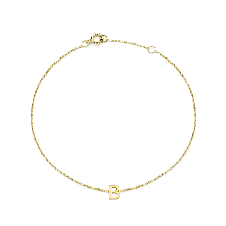 Soleil Collection Plain Initial Bracelet | 9K Yellow Gold