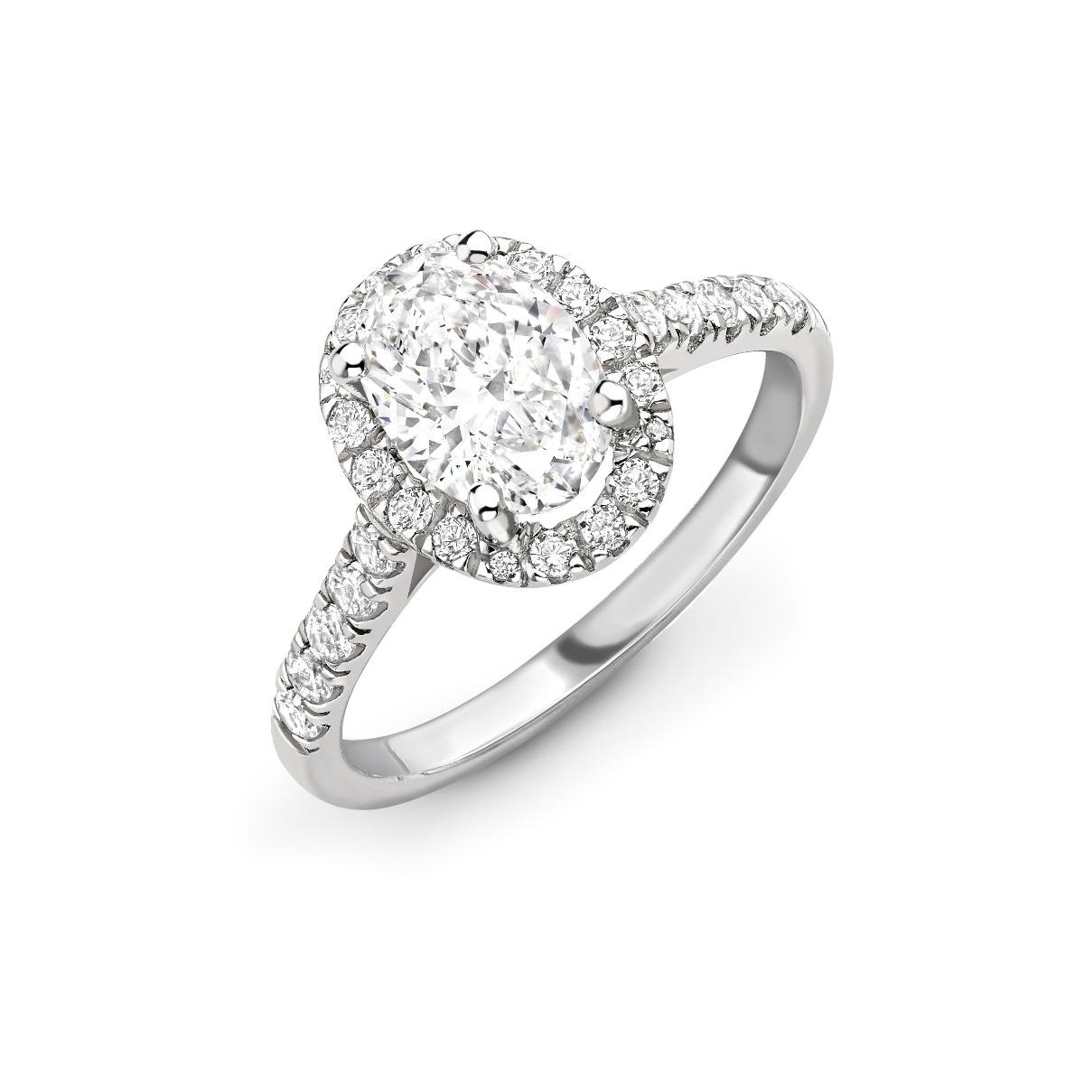 1.26ct Willow Halo | Diamond Oval Halo Engagement Ring | Platinum