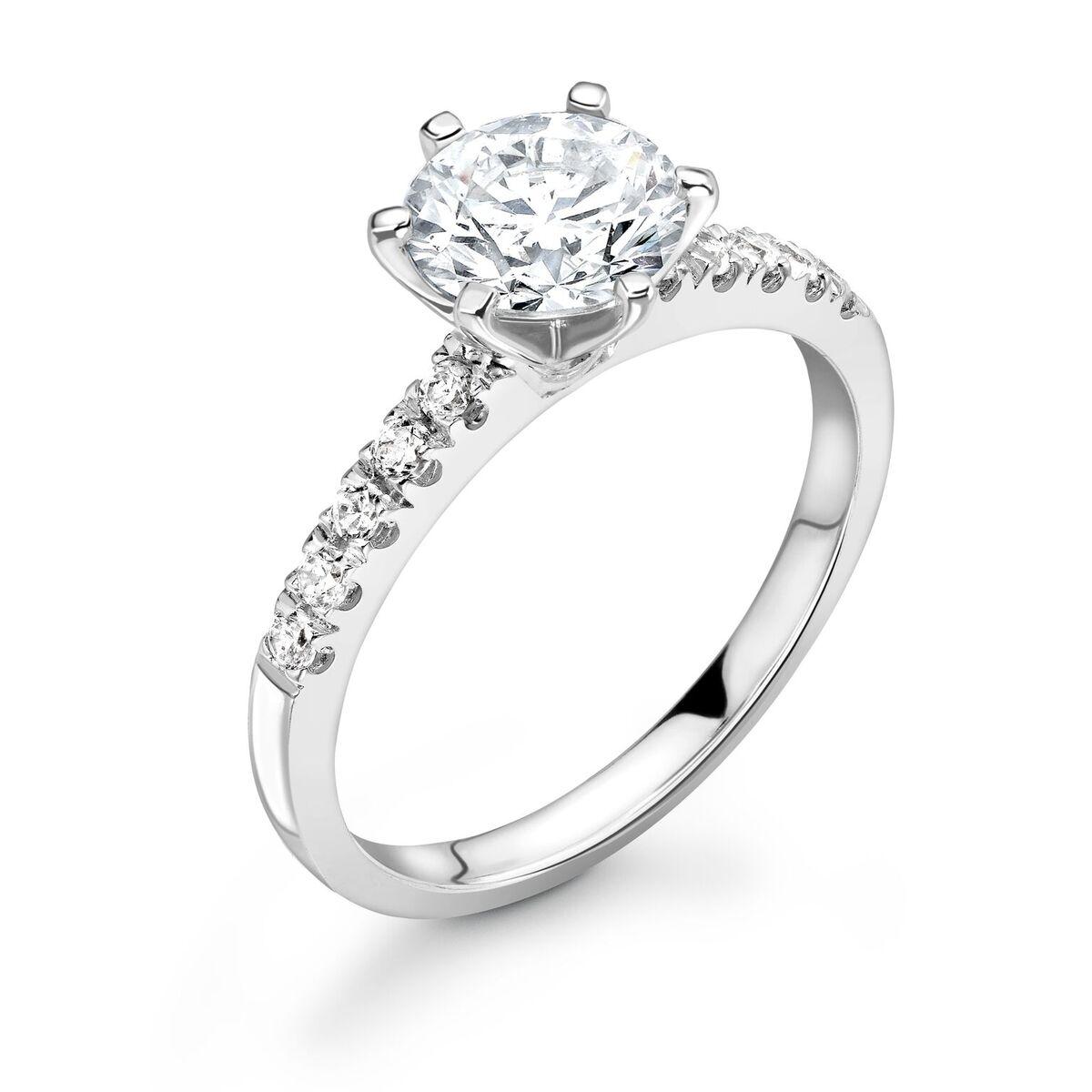 0.40ct Bethany Shoulder Set | Diamond Shoulder Solitaire Engagement Ring | 18K White Gold