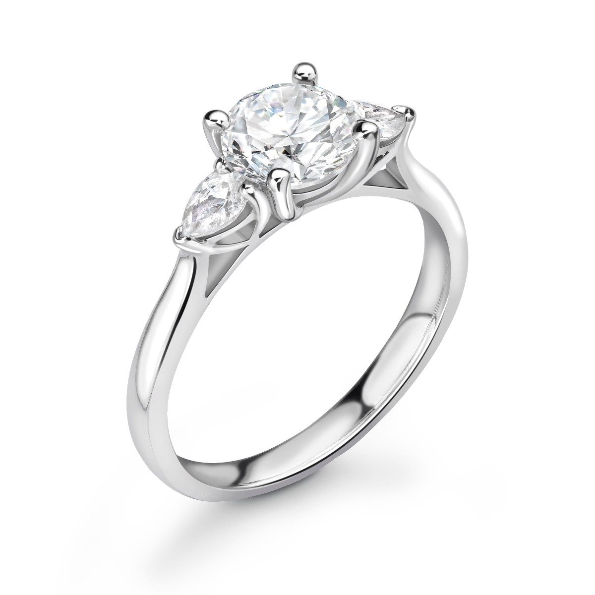 1.18ct Holly Trilogy | Round & Pear Diamond 3 Stone Engagement Ring | 18K White Gold