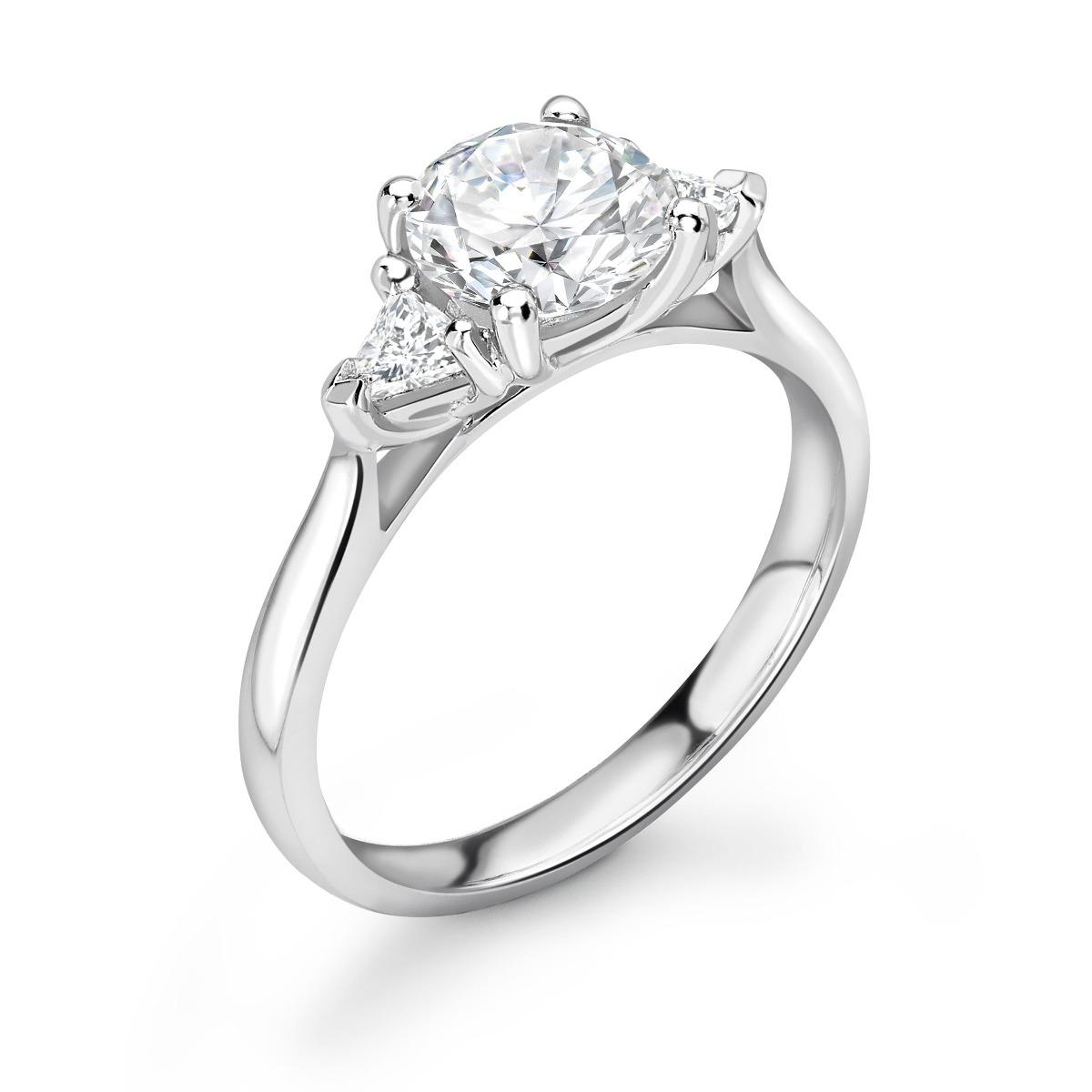 1.13ct Georgia Trilogy | Round & Trillion Diamond 3 Stone Engagement Ring | 18K White Gold