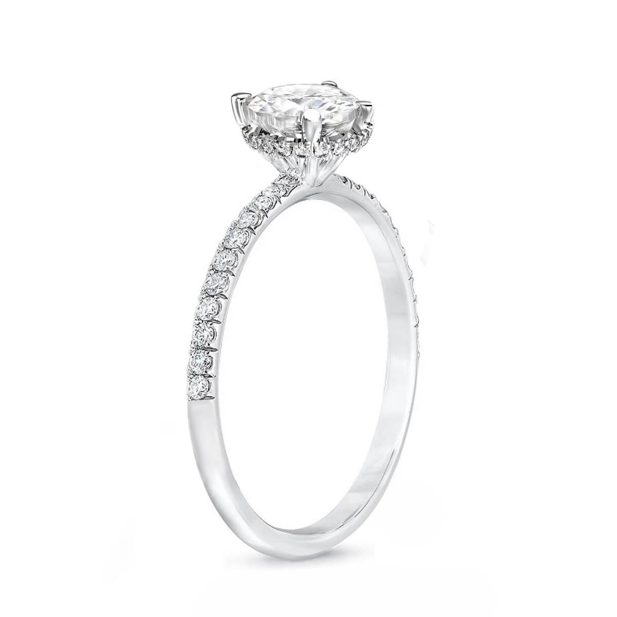 0.70ct Aurora Hidden Halo | Diamond Shoulder Set Engagement Ring | 18K White Gold