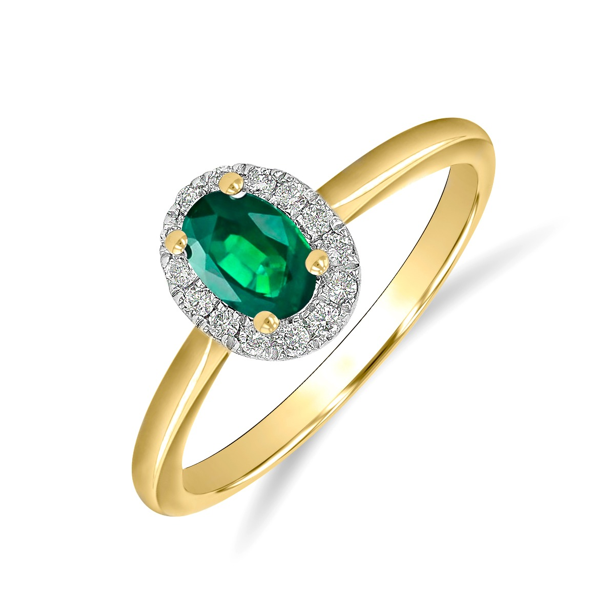 Riviera Collection 0.40ct Oval Cut  Emerald & Diamond Cluster Ring | 9K Yellow Gold