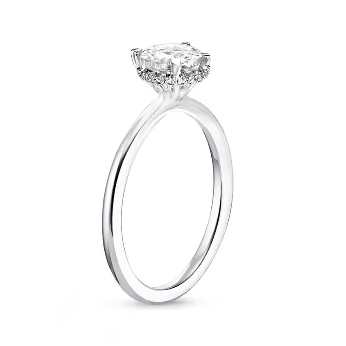 0.55ct Fleur Hidden Halo | Round Solitaire Engagement Ring | 18K White Gold