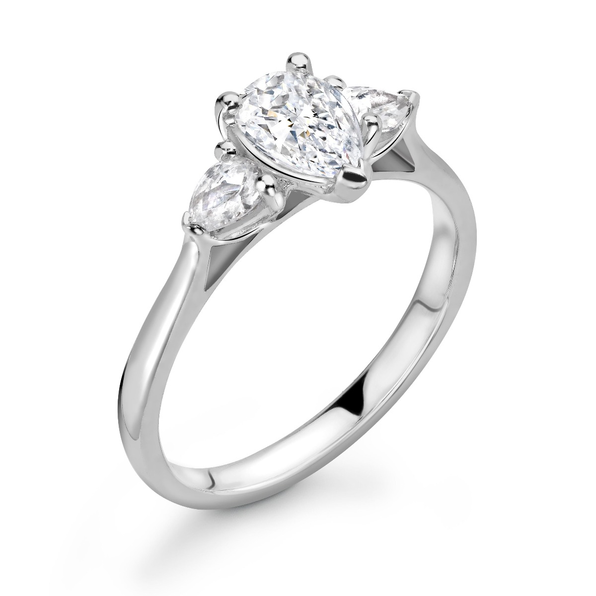 0.88ct Holly Trilogy | Diamond Pear Cut 3 Stone Engagement Ring | 18K White Gold