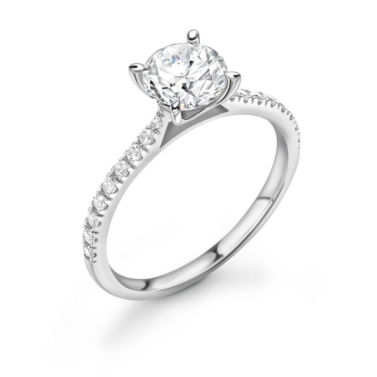 0.33ct Poppy Shoulder Set | Solitaire Diamond  Engagement Ring | Platinum