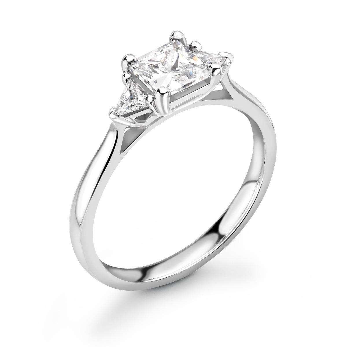 0.74ct Georgia Trilogy | Diamond Princess & Trillion 3 Stone Engagement Ring | 18K White Gold