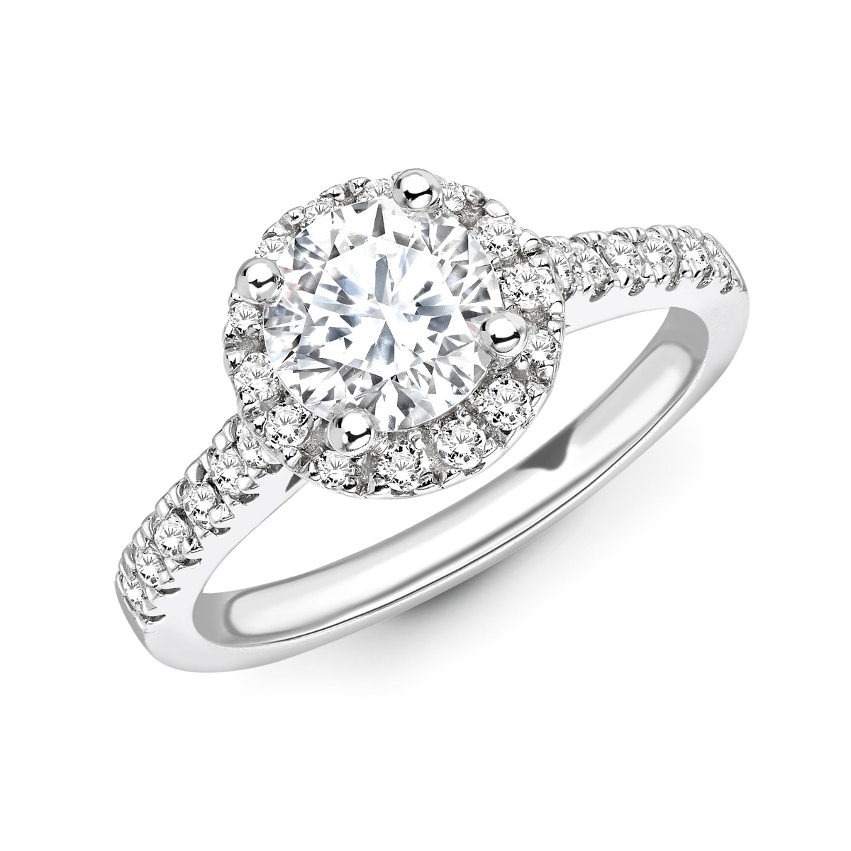 0.73ct Willow Halo | Diamond Round Halo Engagement Ring | 18K White Gold