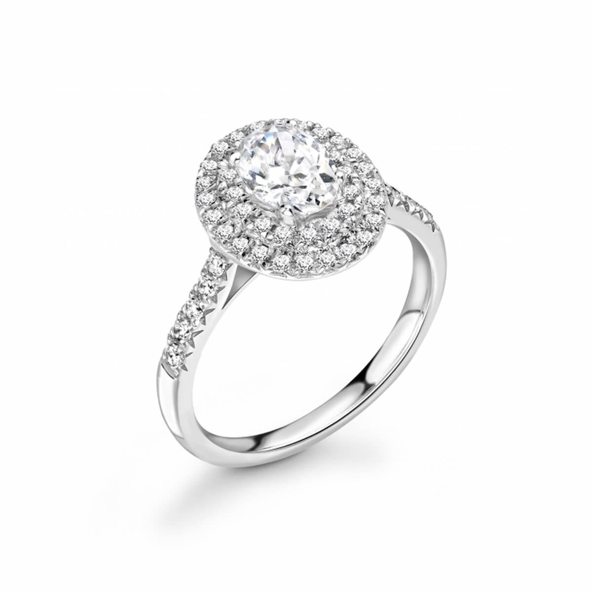 0.83ct Peony Halo | Oval Cut Diamond Double Halo Engagement Ring | Platinum