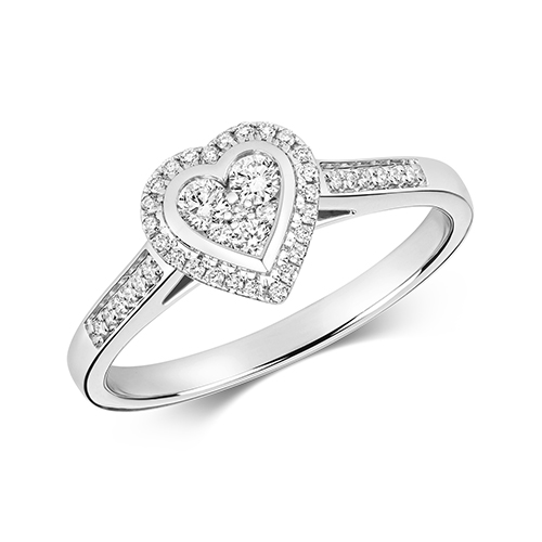 Ethereal 0.25ct Heart Halo   9K White Gold