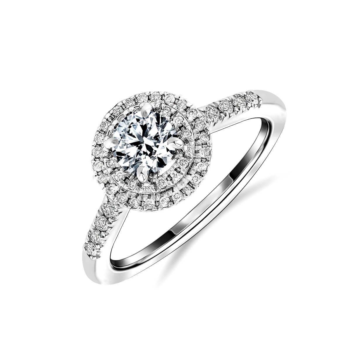 0.83ct Peony Halo | Round Cut Diamond Double Halo Engagement Ring | 18K White Gold